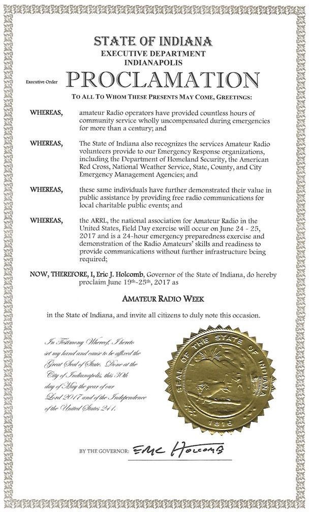 Indiana Governor Eric Holcomb's proclamation of June 19-25, 2017 as Amateur Radio Week